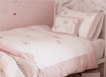 Bella Butterfly Pink Cotton Duvet Set